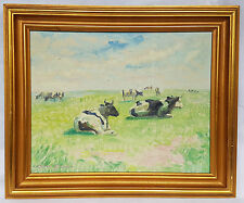 Ölgemälde Portrait Kuh Tiere Landschaft Wiese Feld Sommerlandschaft mit Rahmen