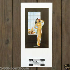 Vintage Original CHINESE PINUP GIRL Sexy Pinup Girl SEE-THRU DRESS Calendar 1955