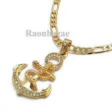 """ICED OUT 14K GOLD PT. ROPE ANCHOR PENDANT 5mm 24"""" FIGARO CHAIN NECKLACE K7200G"""