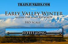 "TrainJunkies HO Beautiful Early Valley Winter Backdrop 18x120"" C-10 Mint-Brand"