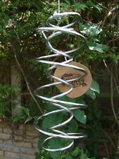 Metal Wind Spiral Silver 20cm long, garden novelty spinner corkscrew action