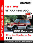 SUZUKI VITARA ESCUDO JX JLX 1988 - 1998 FACTORY SERVICE REPAIR WORKSHOP MANUAL