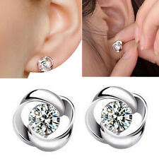 1 Pair Women Fashion Silver Plated Crystal Shiny Ear Stud Earrings Jewelry US