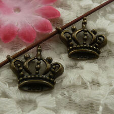 free ship 54 pieces bronze plated crown charms 21x19mm #4321