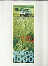 SIMCA 1000 L, LS, GLS et automatique brochure fin 60's