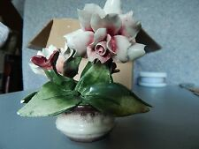 CAPO DI MONTE VINTAGE FLOWER IN POT SIGNED & MADE IN ITALY