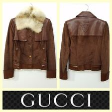 Gucci $4,495 brown suede/leather fur collar crest button jacket~S/XS