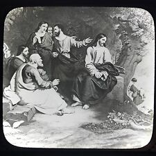 Antique Magic Lantern Glass Slide Photo Jesus Christ Weeping Over Jerusalem