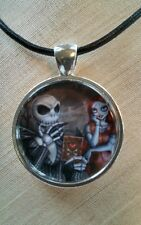 "Tim Burton's Halloween Night Before Christmas ""JACK & SALLY"" Glass Pendant"