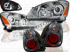 FIT 2002 2003 2004 ALTIMA CCFL HALO PROJECTOR HEADLIGHTS + LED TAIL LIGHTS