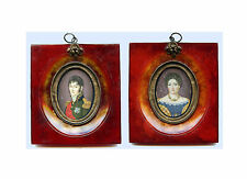 A Lovely Pair of Early 19th-Century  Portrait Miniatures of a Lady and Officer