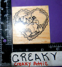 LACE HEART BEAR STUFFED RUBBER STAMP STAMPENDOUS D08