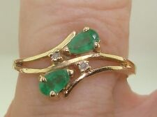 BEAUTIFUL 14K SOLID GOLD APPROX. 1/2 CTW EMERALD & ACCENT DIAMOND RING! SZ 6 1/2
