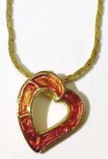 pendentif bijou vintage coeur avec couleur orange vernis couleur or * 5278