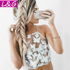 Summer Brandy Melville White Mesh Lace Crochet Bralette Bustier Crop Top Camis