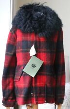 MR AND MRS ITALY SHEARLING TRIMMED TARTAN COAT SMALL