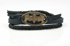 Batman Rope and Leather Adjustable Unisex Charm Bracelet Best Gift Handmade