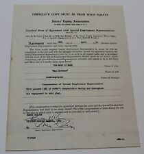 THE MOON IS BLUE * 1952 Signed Broadway Contract, from an Otto Preminger Play
