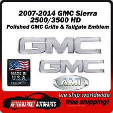 2007-2014 Sierra 3500 HD Polished Billet GMC Grille & Tailgate Emblem AMI 96511P