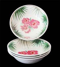 """4 Outdoor Collection Tropical Hibiscus Large 7-1/2"""" Melamine Cereal Bowls NWT"""