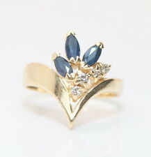 14K Yellow Gold .50 Total Carat Weight Sapphire & Diamond Ring 1/2 Ct.