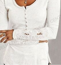 Sexy Women Long Sleeve Shirt Casual Lace Blouse Loose Cotton Top T Shirt New