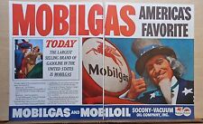 1937 two page magazine ad for Mobil - Uncle Sam, Mobilgas for President!