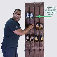 24 Pairs Over Door Hanging Shoe Organiser Storage Rack Shelf Holder Stand Brown