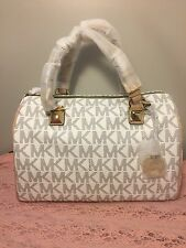 MICHAEL Michael Kors 'Grayson' Blue And Cream Large Chain Logo Satchel msrp $348