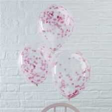 "PINK Confetti Fill BALLOONS ~ Luxury Quality Party Decoration Large 12"" ~ 5pk"
