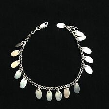 Sterling Silver Womens Coin Style Bracelet 925 Italy