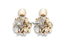 Christian Dior 2016 Mise En Gold Silver Flower White Pearl Tribal Earrings *NEW*