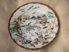 """ELEGANT HANDPAINTED GILDED ORIENTAL PLATE BLUE BIRDS IN BRANCHES ON RIVER 8.5"""""""