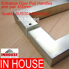 2x Entrance Door Handles- SQ-Satin Stainless Steel 450mm