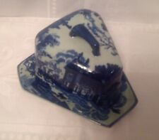 Vintage Victoria Ware Ironstone Triangular Cheese Dish Dome Blue And White
