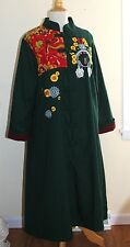 NEW Harajuku Asian Art-to-Wear Hippie Folk A-Line Embroidered Empress Coat S M