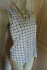 ATMOSPHERE @ PRIMARK WHITE/BLACK CHECK TOP/VEST SZE 6,  8, 10,BNWT