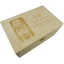 Medium Memorial Remembrance Wooden Pet Urn Cremation Ashes Dog Photo Engraved