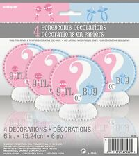 """4 Gender Reveal Boy or Girl Baby Shower 6"""" Mini Honeycomb Table Decorations"""
