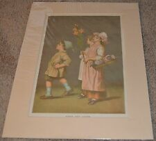 Antique  Print of 1880 Drawing Roses Lilies Boy Girl Flower Fine Art
