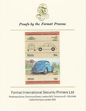Nevis (2077) - 1984 Cars - VW Beetle  imperf on Format International PROOF  CARD