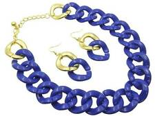ROYAL BLUE AND GOLD LUCITE  HOOP LINKED CHAIN NECKLACE EARRING