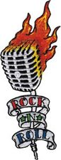 Rock N Roll Flaming Microphone sew-on/iron-on cloth patch  (cv)
