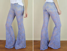 DUSTY BLUE Stretch Lace Lined Flared Bell Bottom Long Yoga Lounge Sexy Pants L