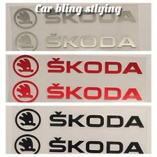 Pair Scoda Car Stickers Doors Wings Mirrors Sports Decal Black Silver Red