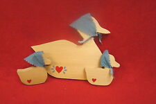 Wooden Carved Mama Duck and Two Babies with Bonnets and Painted Hearts