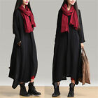 Womens Flowy Skirted Linen Dress Black Long Shirt Smocked BOHO Midi Dress S M L