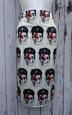 David Bowie Skull Wiggle Skirt - Size 8 10 12 - Mid Calf - Long - Pencil Retro