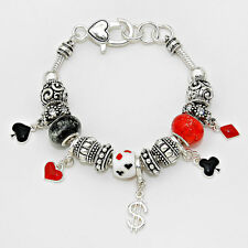 Poker Bracelet Multi Sliding Beaded Charm Chain Playing Cards Gamble Heart SLVR