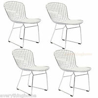 BERTOIA STYLE DINING SIDE CHAIRS WHITE PAD 4 MODERN CAFE STEEL WIRE CHROME MESH